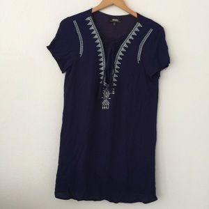Lulu's Dark Blue Embroidered Tunic short sleeve